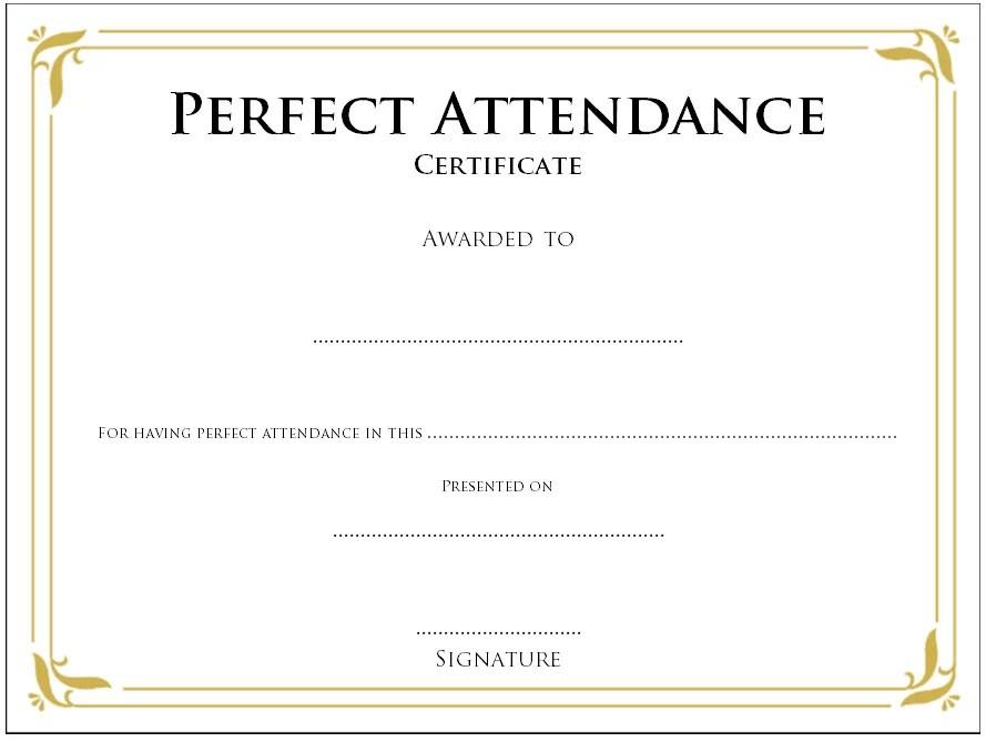 Perfect Attendance Certificate Template - 8+ Best Ideas