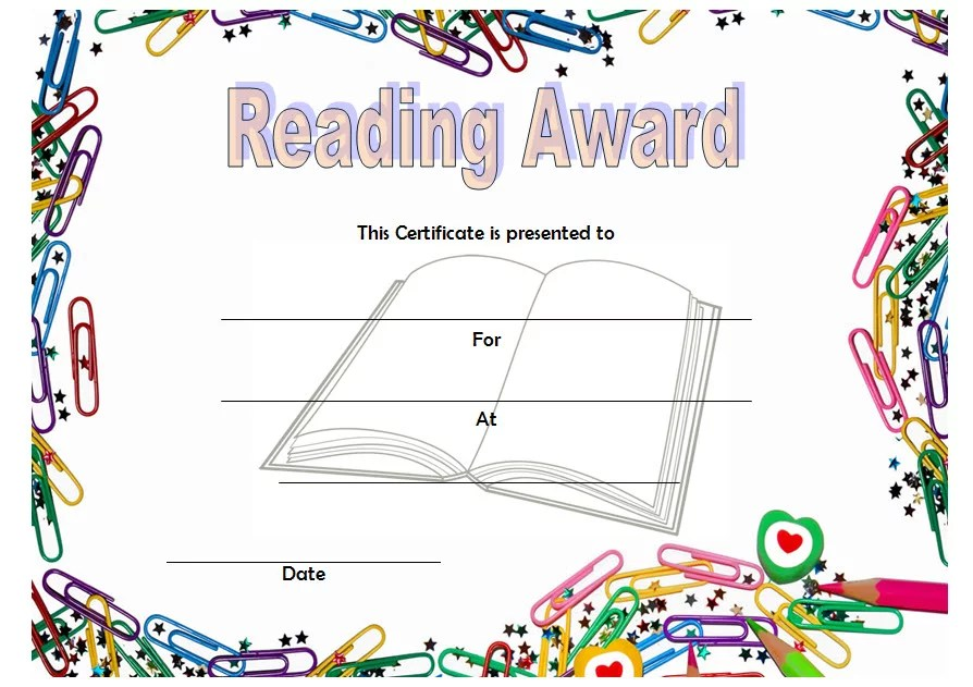 Reading Award Certificate Template Paddle At The Point