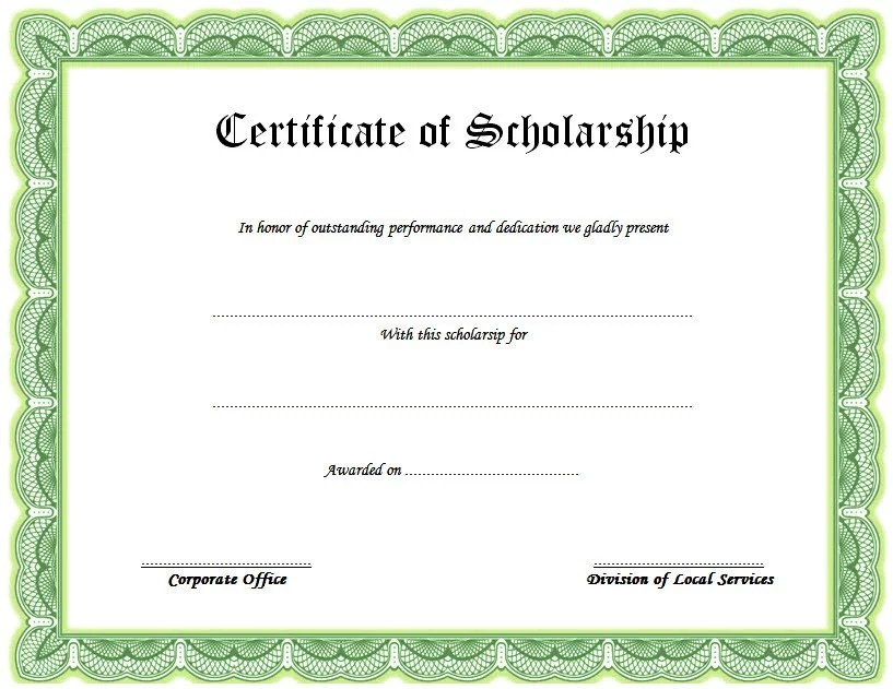 Scholarship Award Certificate - 10+ Template Ideas