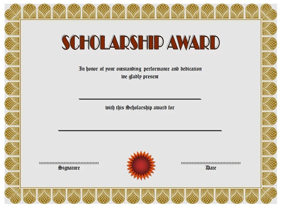 Scholarship Award Certificate Template 5 Paddle At The Point