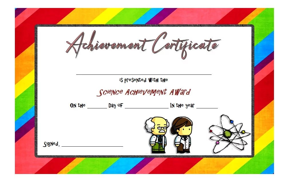 Science Achievement Certificate Template 6 Paddle At The Point