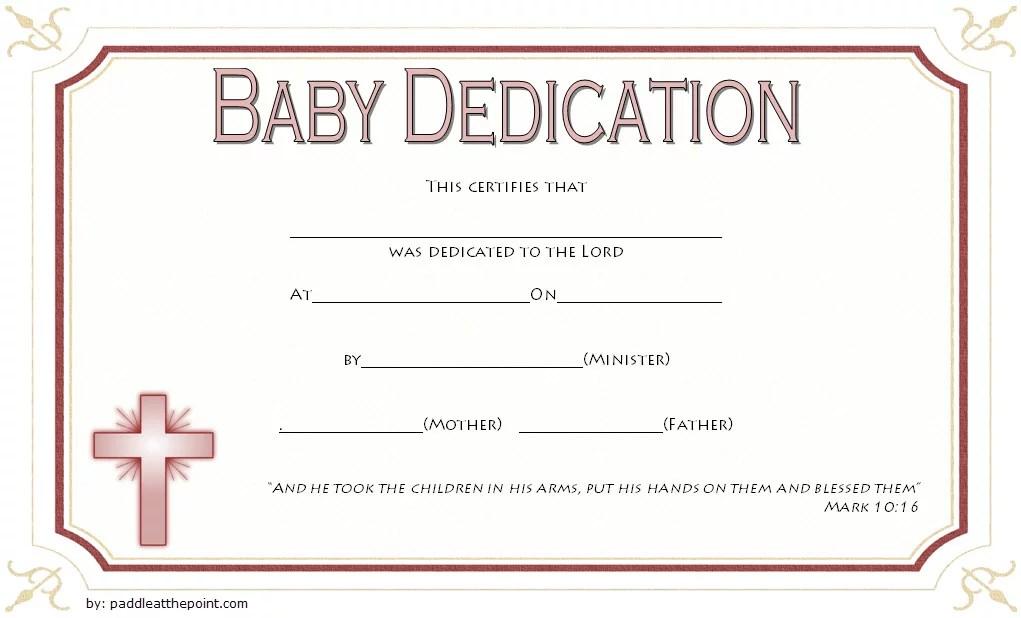 Baby Dedication Certificate Templates - 7+ Best Ideas