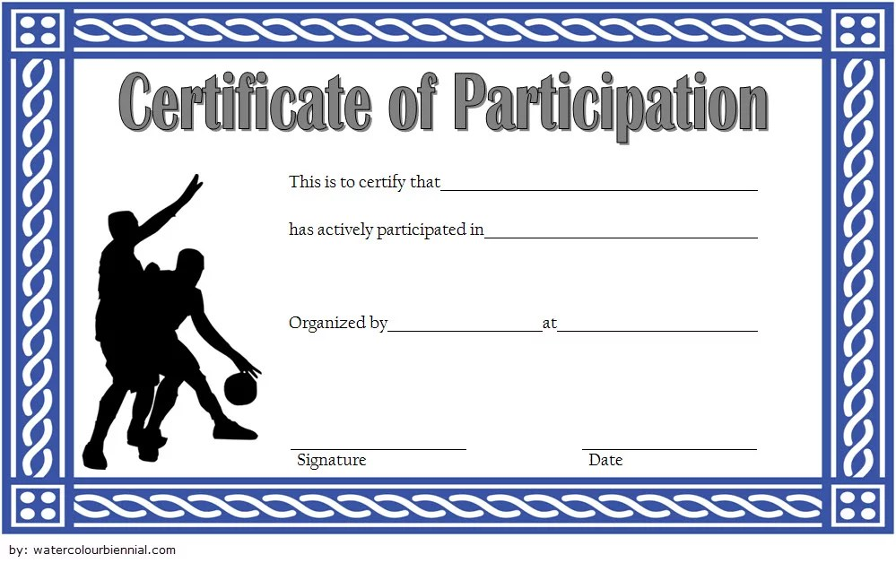 Basketball Participation Certificate Template - 10+ Awesome Designs