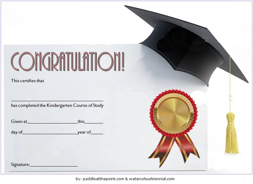 Kindergarten Graduation Certificate Printable 4 Paddle At The Point