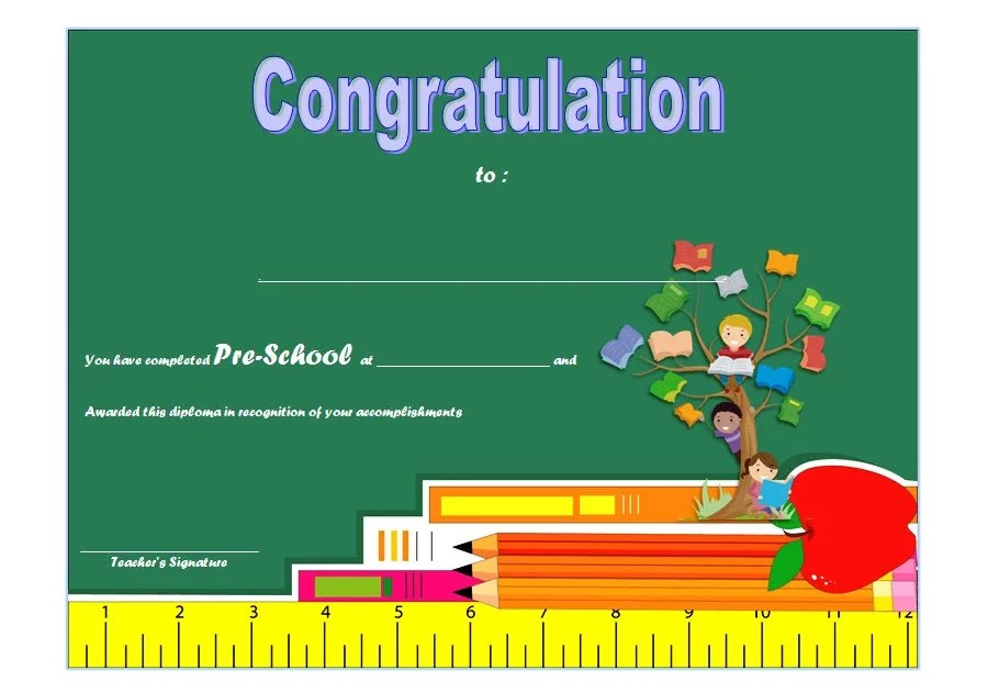 Congratulations Certificate Template for Preschool Diploma Paddle