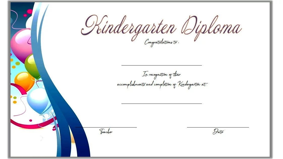 Kindergarten Diploma Certificate Template 3 Paddle At The Point