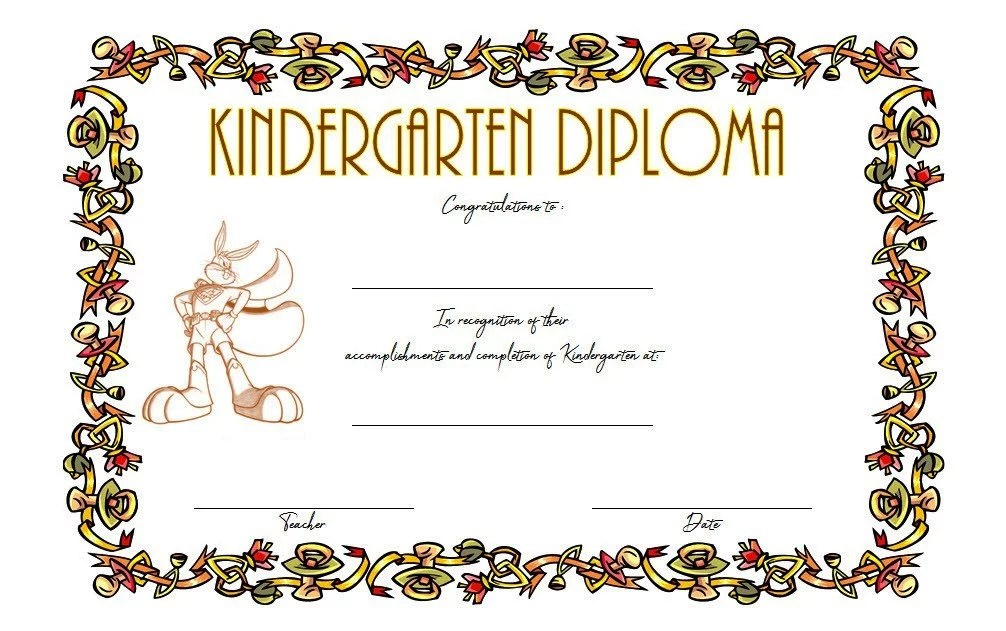Kindergarten Diploma Certificate Template 4 Paddle At The Point