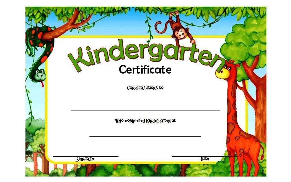 Printable Kindergarten Diploma Certificate - 10+ Template Ideas