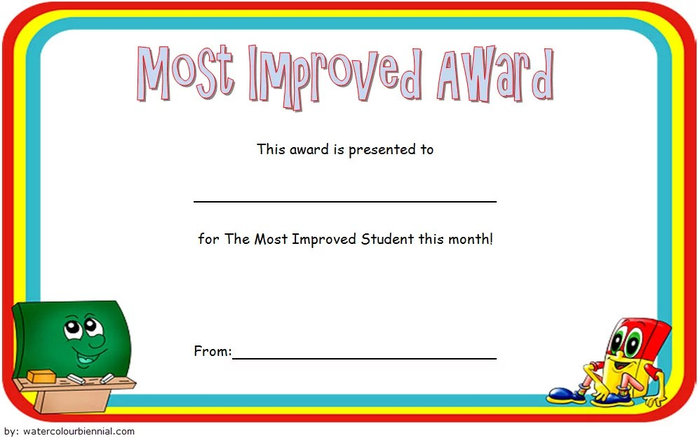 Most Improved Award Certificate most improved award certificate