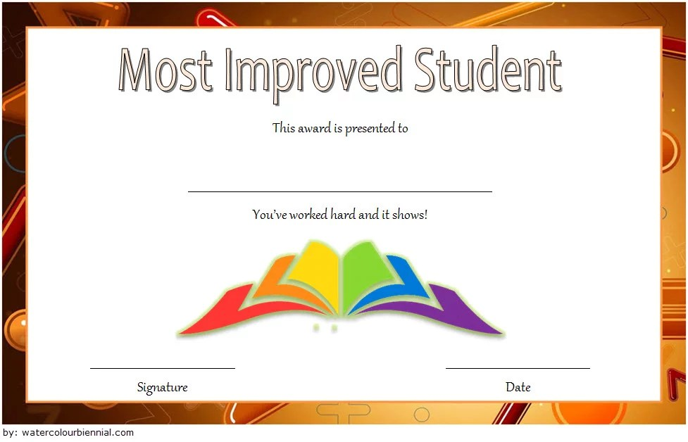 Most Improved Student Certificate Template 4 Paddle At The Point
