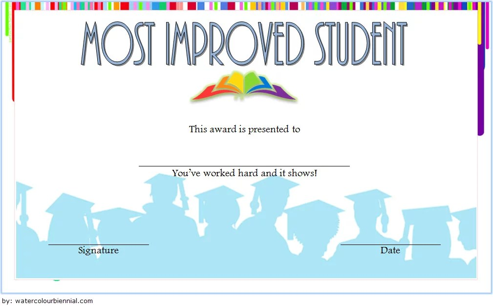 Most Improved Student Certificate Template 6 Paddle At The Point