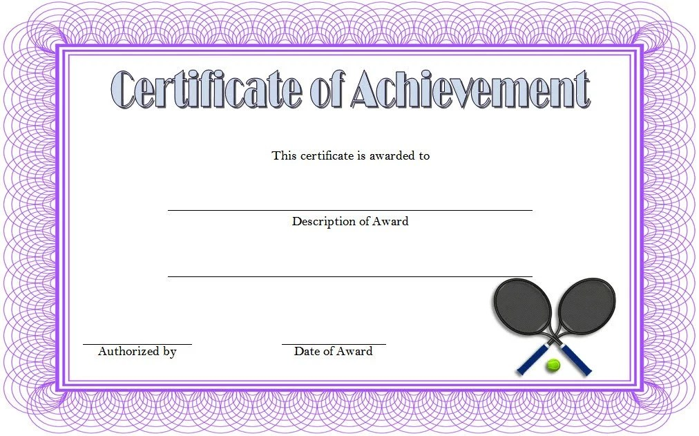 Tennis Achievement Certificate Template 4 Paddle At The Point