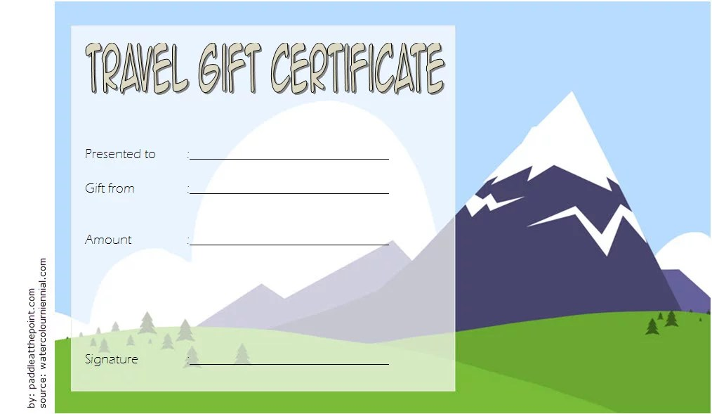 Travel Gift Certificate Template 3 Paddle At The Point