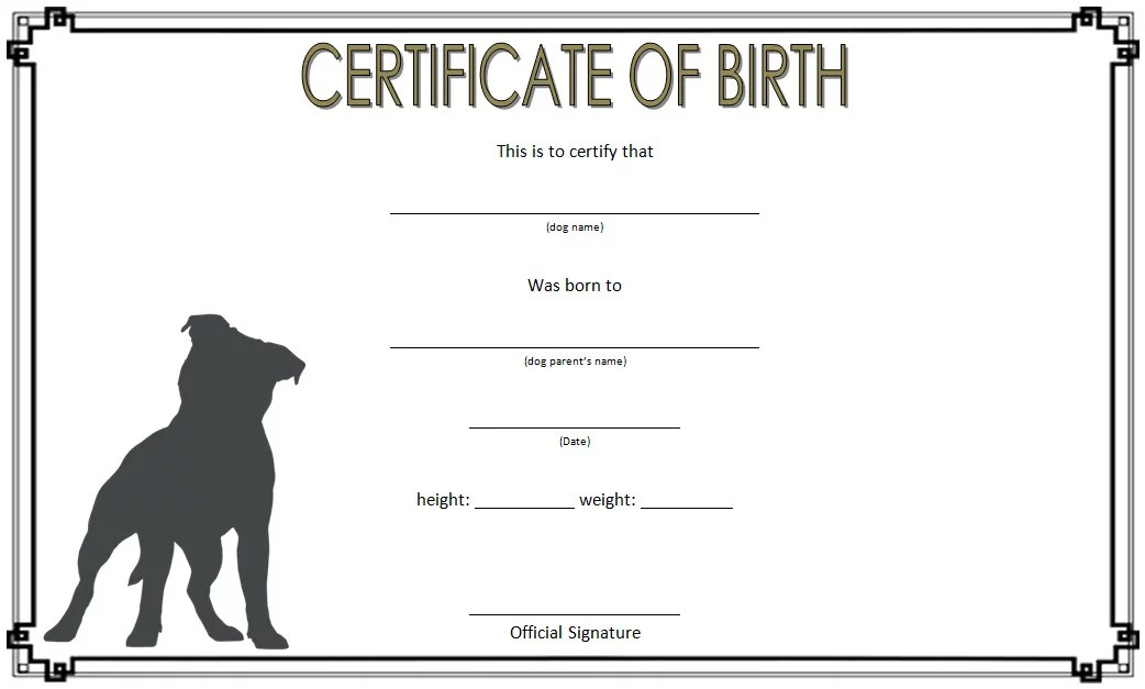 Dog Birth Certificate Template 3 Paddle At The Point