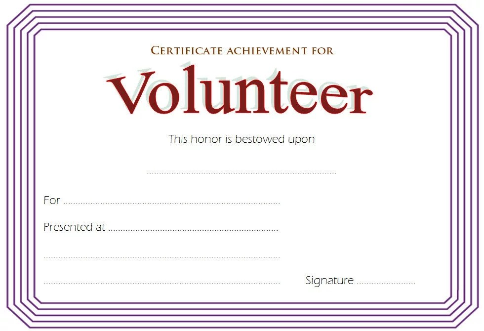 Volunteer Achievement Certificate Template 2 Paddle At The Point