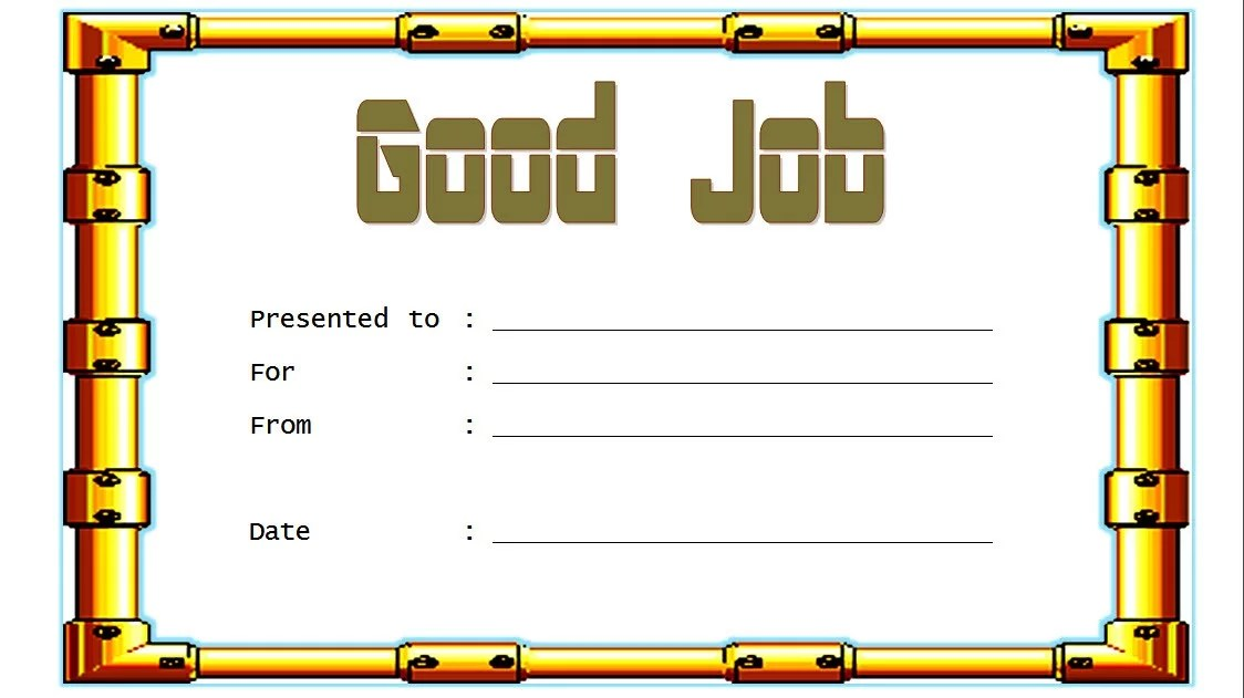 Good Job Certificate Template 4 Paddle At The Point