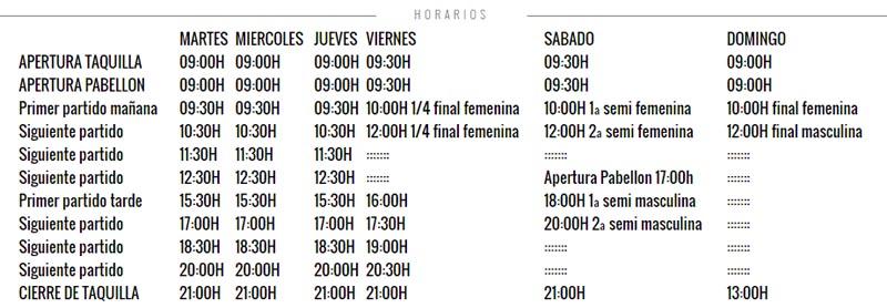 Horarios Master World Padel Tour Valencia