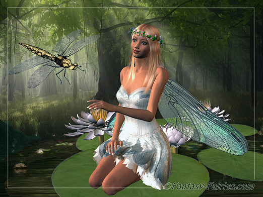 Faerie Girl Wallpaper Fairy Sitting On Lilypad With Dragonfly Comments Myspace