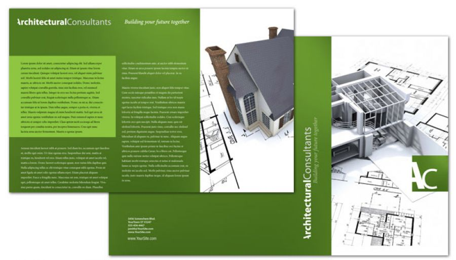 Half Fold Brochure template for Architect Engineering Firm Order - architecture brochure template
