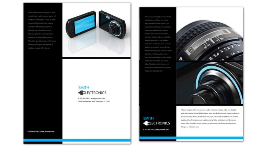 Flyer template for Audio Video Camera Electronics Order Custom - video brochure template