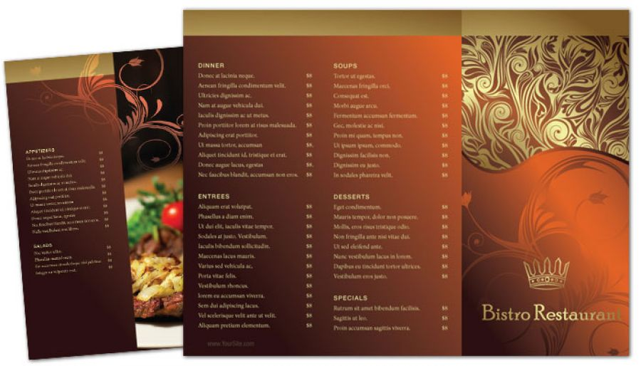 tri fold restaurant brochure template - Selol-ink