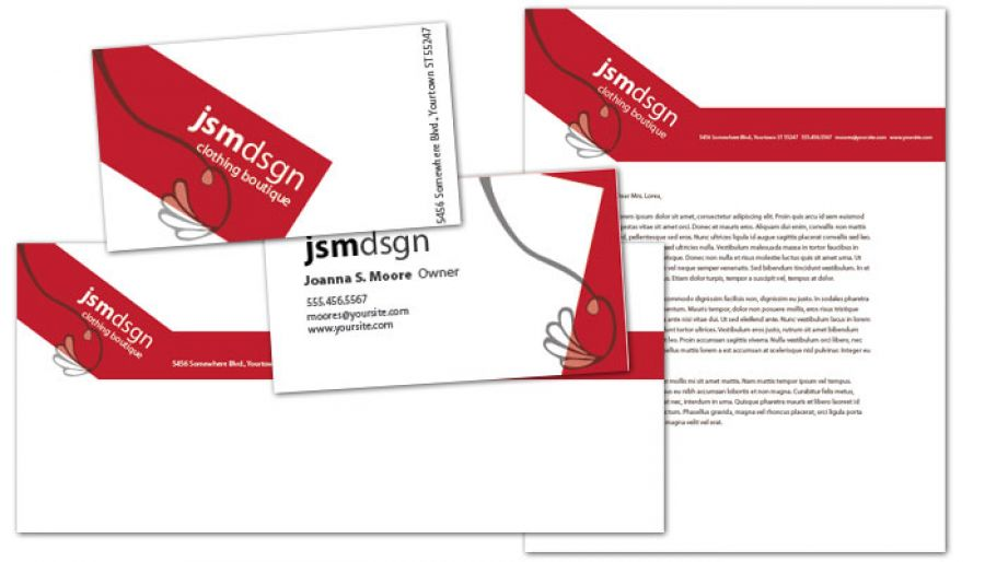 Letterhead template for Clothing Boutique Fashion Stylist Order - letterhead and envelope design