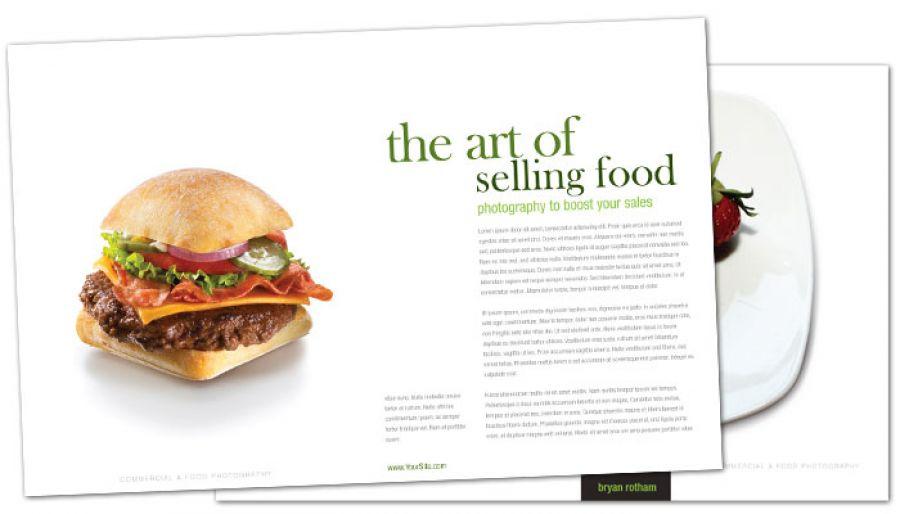 Half Fold Brochure template for Commercial Photographer Food - food brochure