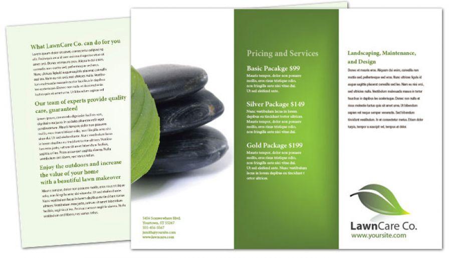 Tri Fold Brochure template for Lawncare Services Order Custom Tri - services brochure
