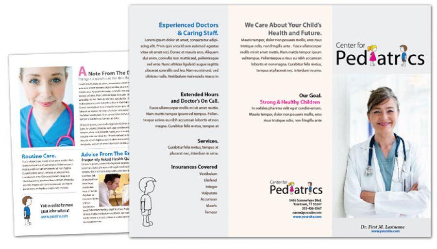 Tri Fold Brochure template for Medical Pediatric Office Order - medical brochure