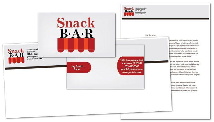 Business Card template for Snack Bar Cafe Deli Restaurant Order
