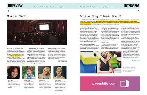 The Blackboard, Free School Newspaper Template for InDesign \u2022 Pagephilia