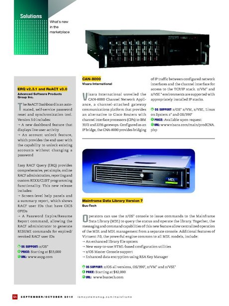 IBM Systems Magazine, Mainframe - September/October 2010