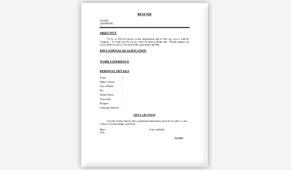 One Page Resume Examples. sample resume format for fresh graduates .