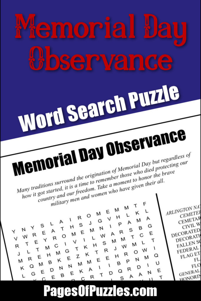 Memorial Day Observance Word Search \u2013 Pages of Puzzles