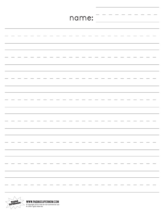 kindergarten writing paper template - blank lined paper template