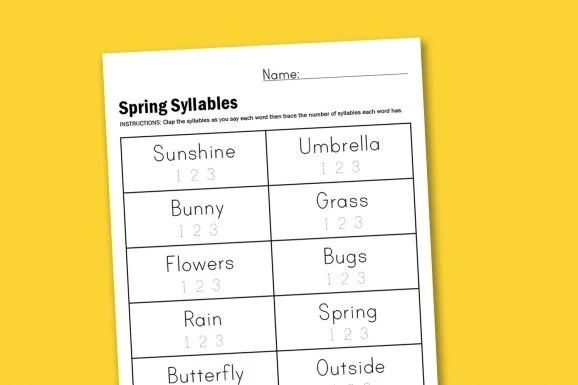 Worksheet Wednesday Spring Syllables - Paging Supermom