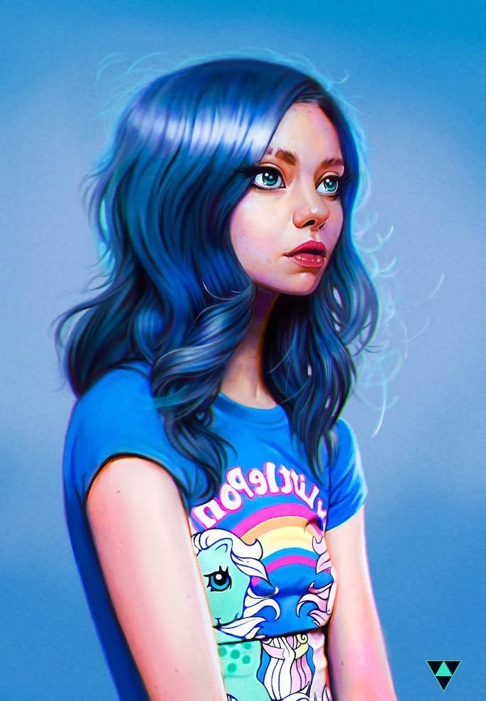 Blue Hair Anime Girl Wallpaper Digital Painting Inspiration 004 Paintable