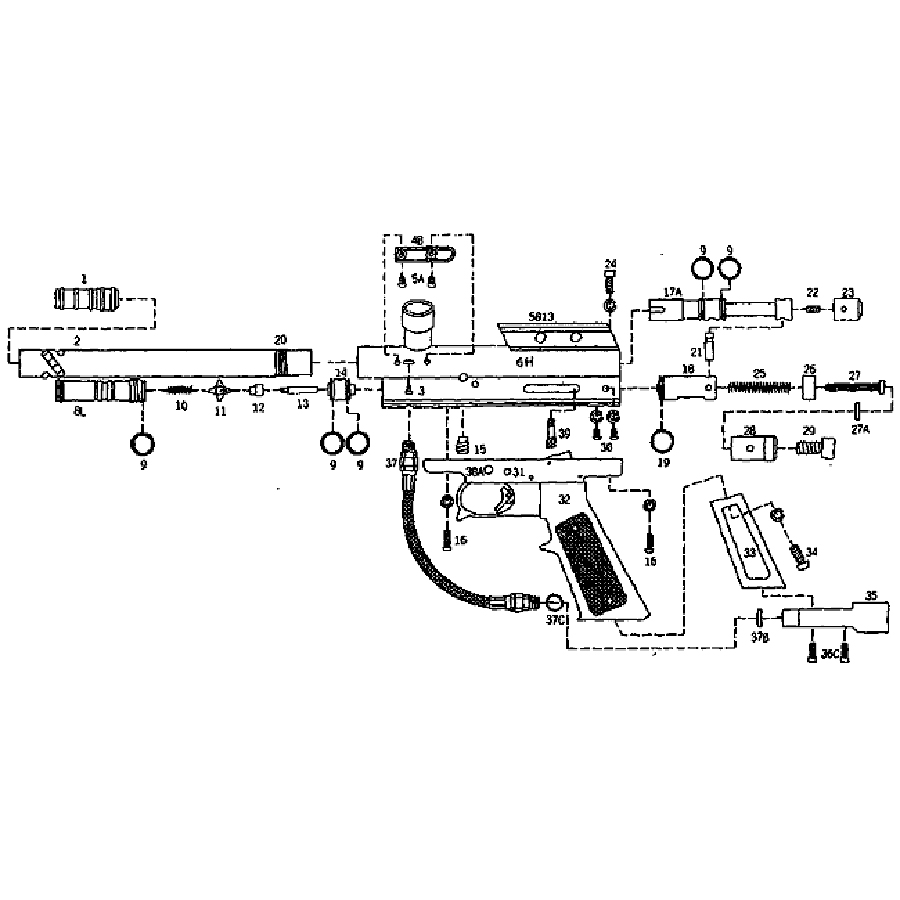 paintball gun parts diagram