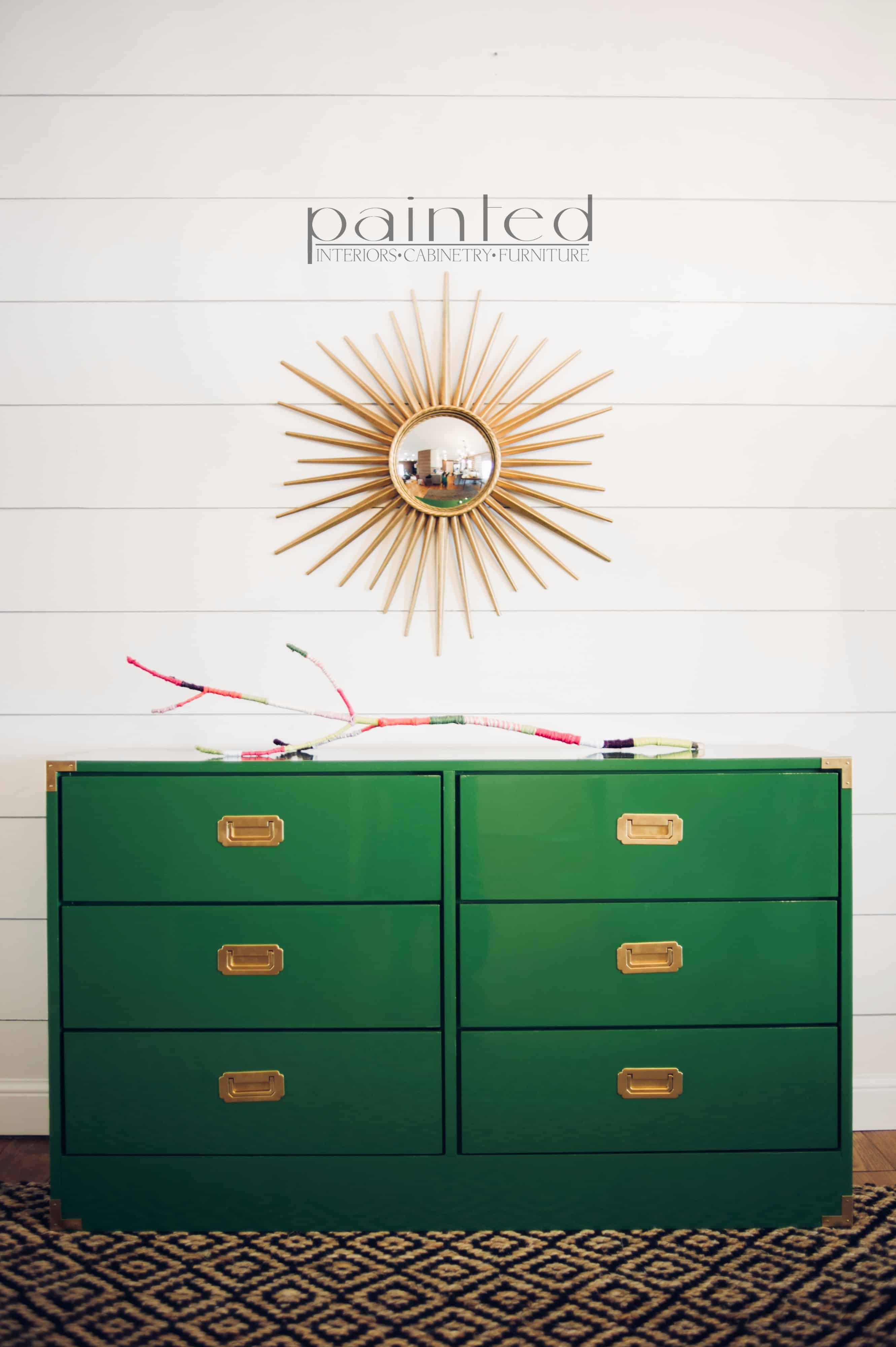 Glossy Green Campaign Dresser Painted By Kayla Payne