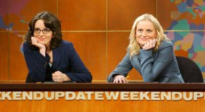 Saturday Night Live's Weekend Update with Tina Fey and Amy Poehler.