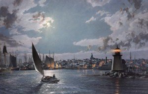 john-stobart_Nantucket-The Island-Port-by-Moonlight