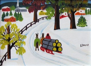 maud-lewis_horses-hauling-logs-in-winter