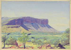 albert-namatjira_Mangeraka-and-hunter_1939