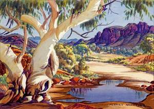 albert-namatjira_waterhole-macdonnell-ranges_1950s