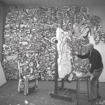 Jean Dubuffet at work on a polystyrene sculpture in Paris, June 1967. Photograph by Luc Joubert
