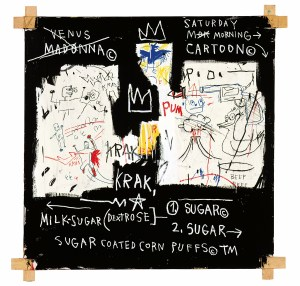 A Panel of Experts (1982) Acrylic and oil paintstick and paper collage on canvas with exposed wood supports and twine 60 × 60 inches by Jean-Michel Basquiat