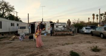 Singer-songwriter Vera Sola prepares to perform at the fourth annual Bombay Beach Biennale on March 22, 2019.