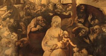 The unfinished Adoration of the Magi (1481-82) by Leonardo da Vinci (1452-1519)