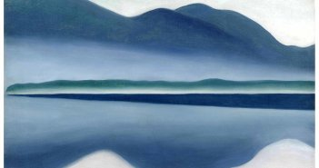Lake George (formerly Reflection Seascape (1922) oil on canvas by Georgia O'Keeffee (1887-1986)