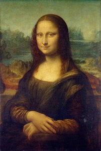 Mona Lisa tweaked from c. 1503–1506 perhaps continuing until c. 1517-1519 oil on poplar panel 30 in × 21 inches by Leonardo da Vinci